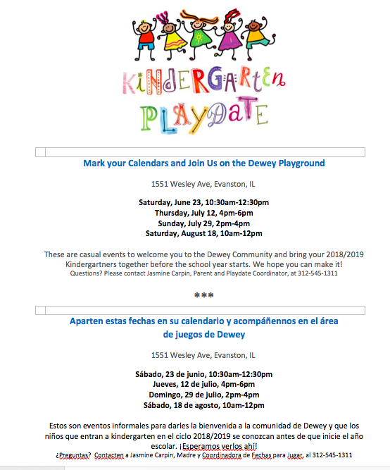 Mark your calendars! Kindergarten playdates!