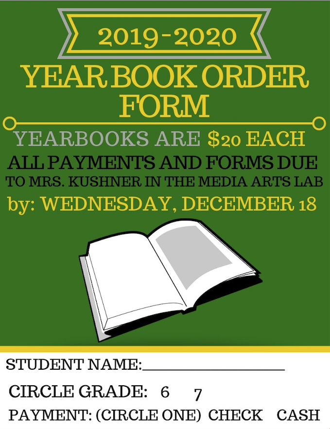 Order your 2019-2020 Chute Yearbook Today!  Orders are due before Winter Break.  Students should bring form and $20 payment to Mrs. Kushner in room 109.