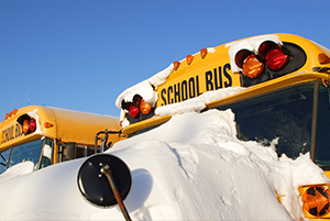picture of snow covered school bus